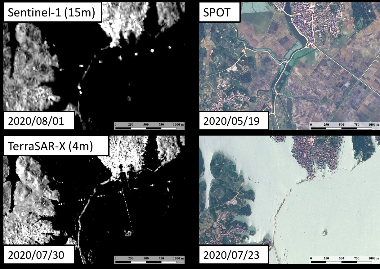 Fig. 2: Disaster monitoring example of the Yangtze River flooding.