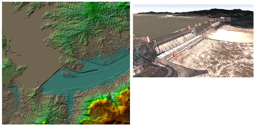 Fig. 3: Three-dimensional DSM of the Three-Gorges Dam area (left) and the textured 3D model of the dam (right) generated with stereo satellite remote sensing.